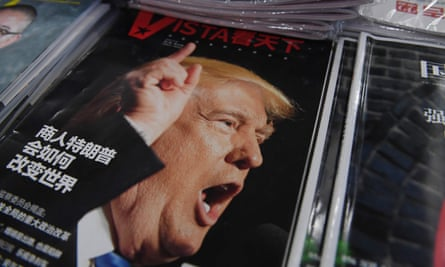 A magazine in Beijing features Donald Trump on its cover, with the headline: 'How will businessman Trump change the world.'