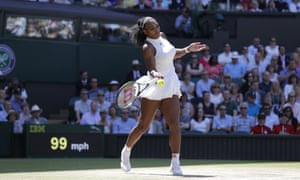 Serena Williams returns from the baseline.