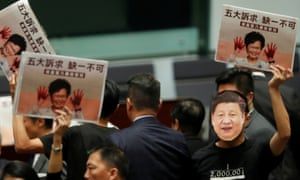 "Lawmakers accused Lam of being a ""puppet"" of Beijing and destroying Hong Kong."