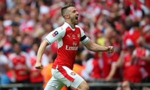 Aaron Ramsey celebrates after giving Arsenal back the lead..