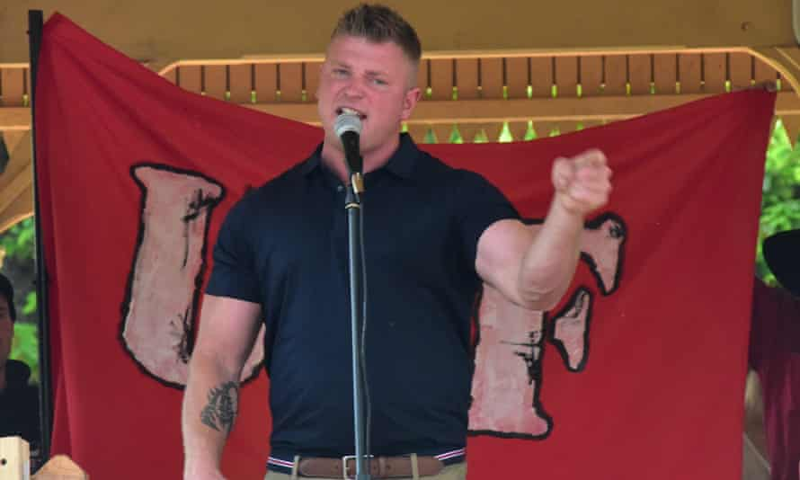 Blair Cottrell of the United Patriots Front addresses an anti mosque rally in Bendigo in 2015.