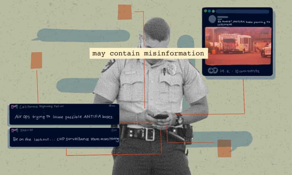 Illustration of police officer looking at social media posts