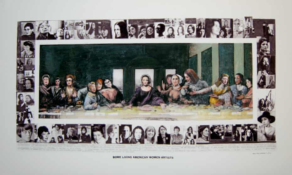Mary Beth Edelson's Some Living American Women Artists: Last Supper, 1972-2012, digital archival print with mixed media (the original 1972 collage is in the collection of the Museum of Modern Art, New York).