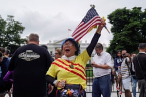Californian Trump supporter Victoria Kim celebrates the meeting outside the White House.
