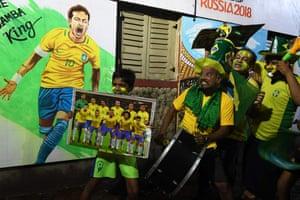 Brazil fans in Kolkata celebrate.
