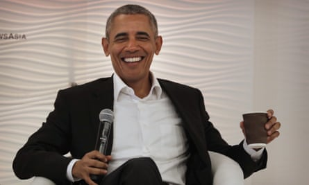 Barack Obama at a leadership summit in Delhi earlier this month. 'Every day it seems that President Trump manages to erase a little bit more of what Obama accomplished as president.'