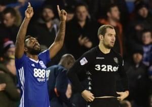 Birmingham's Jacques Maghoma celebrates scoring the winner against Leeds.