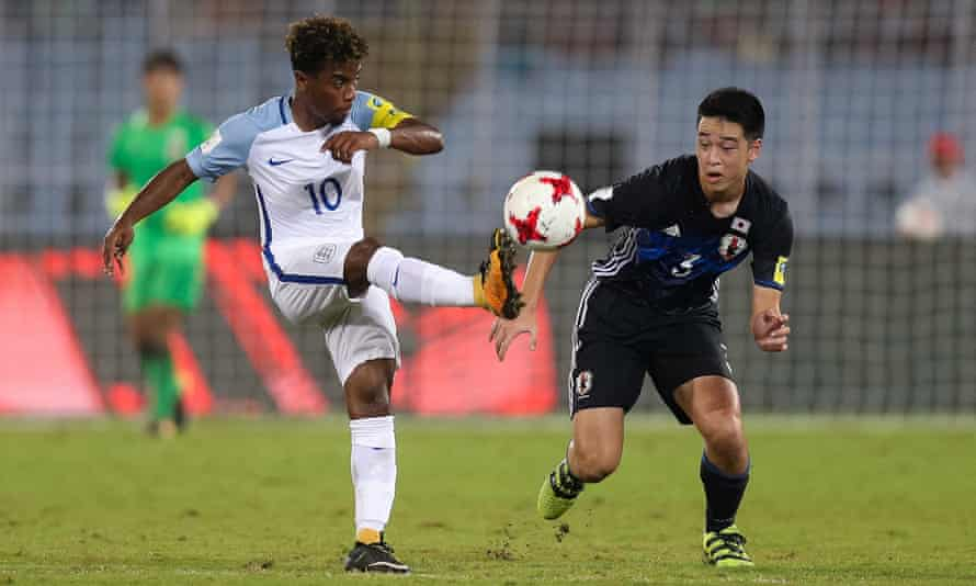 Angel Gomes in action for England at the under-17 World Cup against Japan.