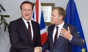 David Cameron shakes hands with European council president Donald Tusk in Brussels on 2 February