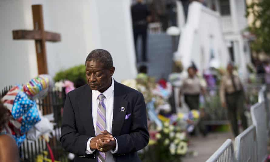 Church member Thomas Rose leaves a wake for state senator Clementa Pinckney, one of the nine killed in last week's shooting at Emanuel AME church.
