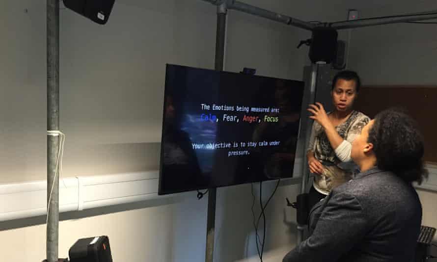 Karen Palmer introduces Dr Erinma Ochu to the Riot interface.