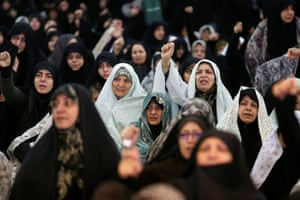 Worshippers in Tehran chant slogans against the killing during Friday prayers