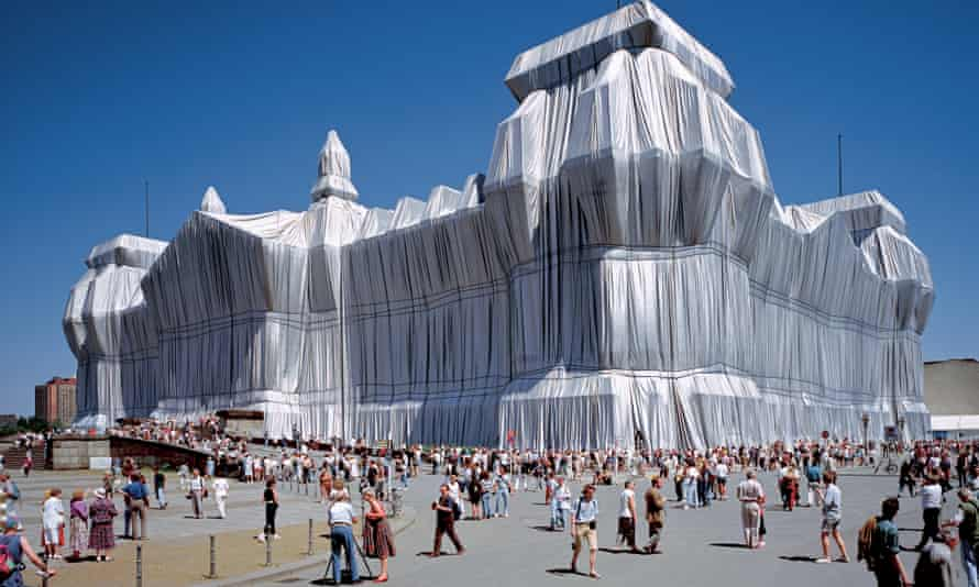 Wrapped Reichstag - the German parliament building in Berlin in aluminium fabric