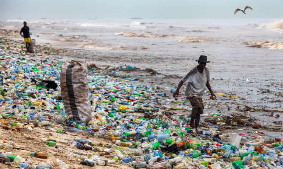 Plastic waste washed up on a beach in Ghana.