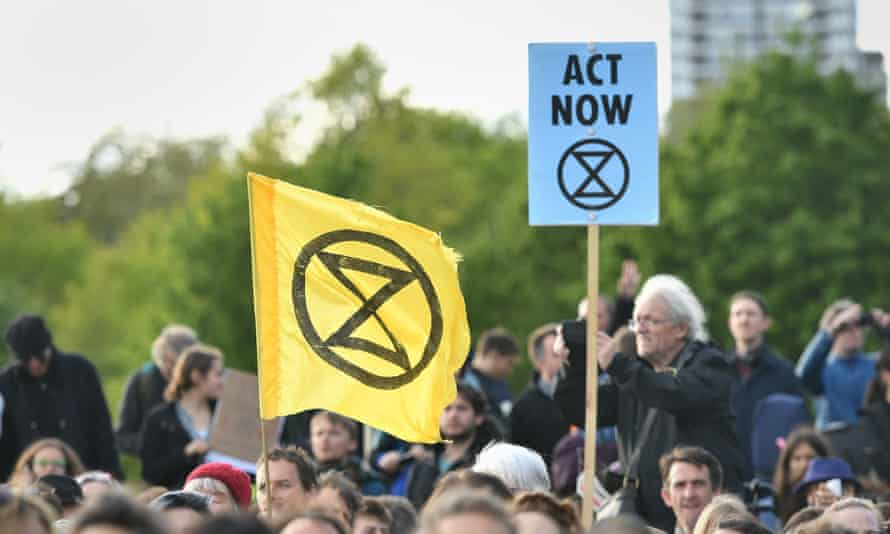 Extinction Rebellion protesters in Hyde Park