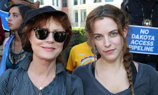 Actors Susan Sarandon, left, and Riley Keough participate in the rally in Washington DC.