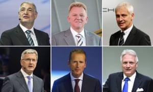 Clockwise from top left: Heinz-Jakob Neusser, Andreas Renschler, Porsche boss Matthias Müller, Winfried Vahland, Herbert Diess, and Rupert Stadler