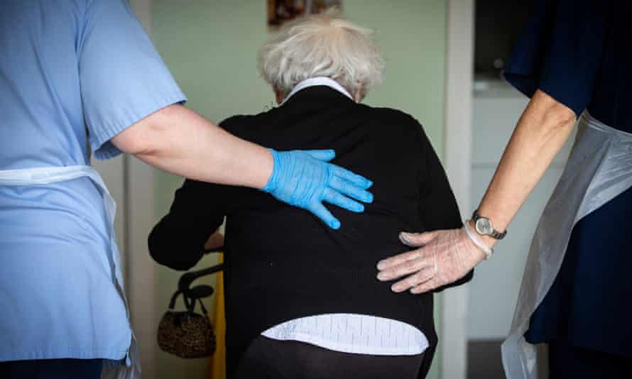 'Government guidance seems to give people hope and then take it away' ... A resident receives assistance at Eskgreen care home, Musselburgh.