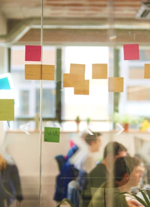 Office wall with sticky notes