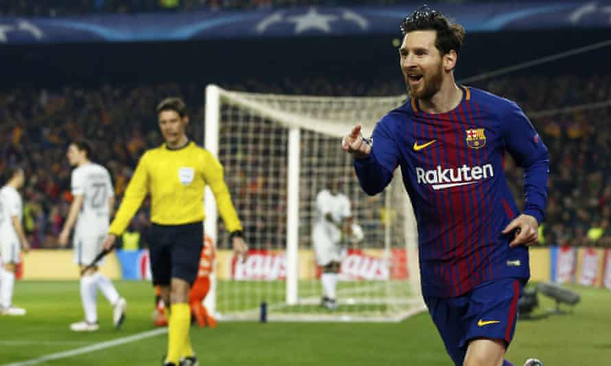 Lionel Messi celebrates putting Barcelona on the road to victory against Chelsea with his quickest ever goal in professional football.