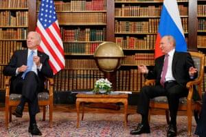 US President Joe Biden (L) and Russia's President Vladimir Putin meet.