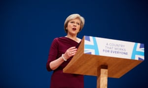 Theresa May making her keynote speech to the Conservative party annual conference in Birmingham.