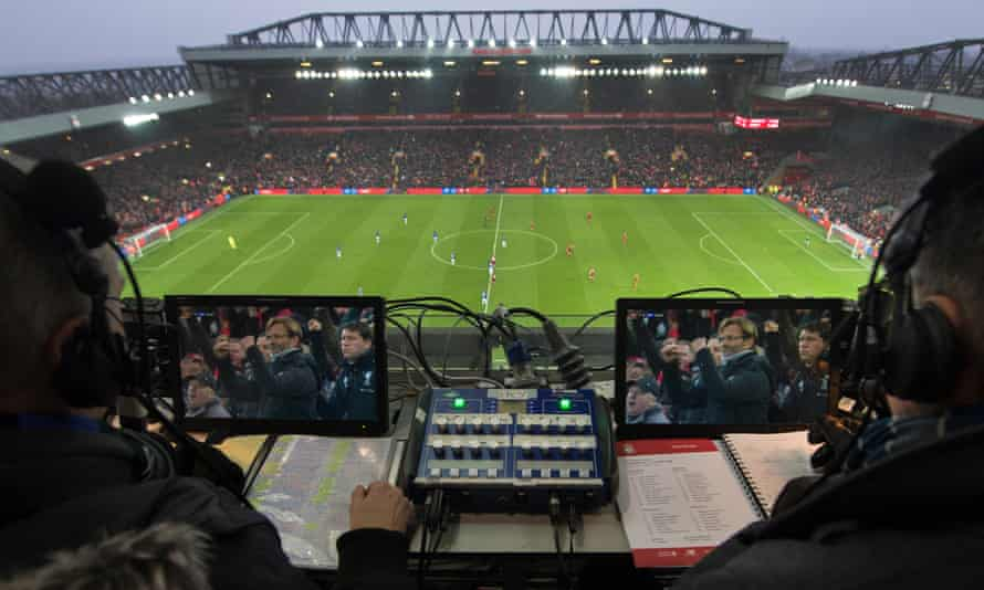 The commentary box at Anfield during a Merseyside derby.