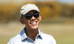 Obama plays a round of golf at the Old Course in St Andrews, Scotland.