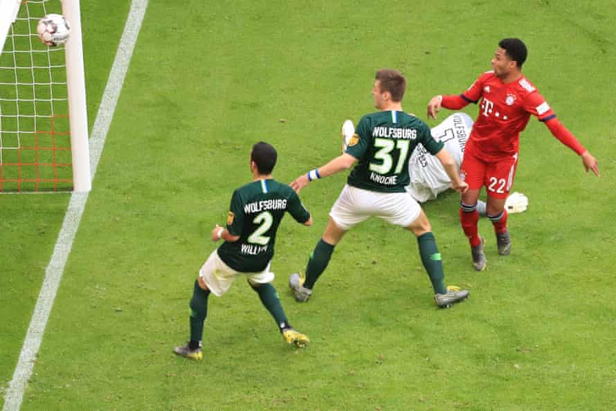 Serge Gnabry watches the ball cross the line during Bayern's 6-0 victory over Wolfsburg
