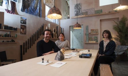 Three members of Assemble inside A Showroom for Granby Workshop, created for the Turner prize show