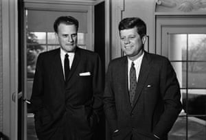 Graham's influence was widespread. Here he's pictured with John F Kennedy at the White House in 1961