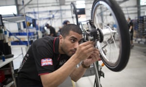 Inside the new Brompton Bicycle factory in London.