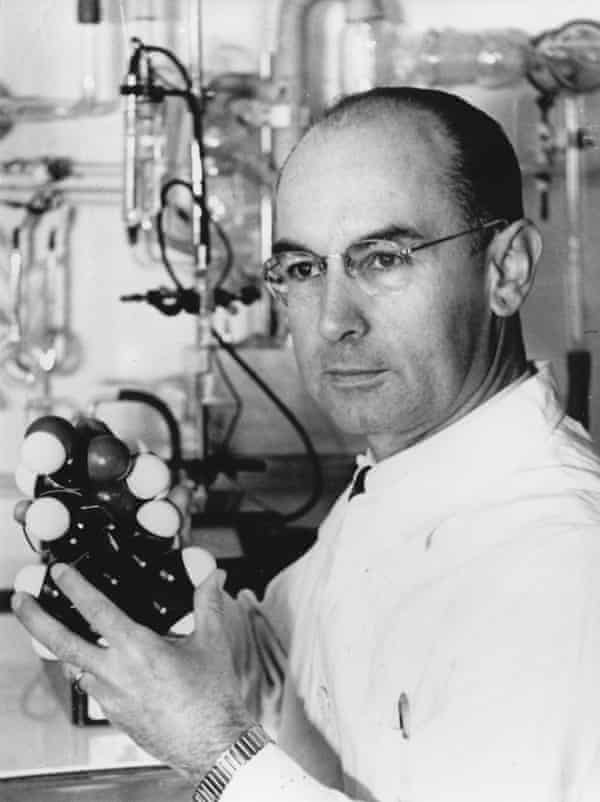 Swiss chemist Albert Hofmann in 1943, holding a model of the LSD molecule.