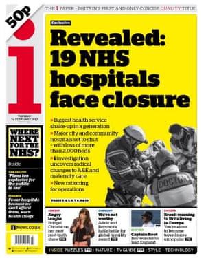 The i splashes on NHS hospitals at risk