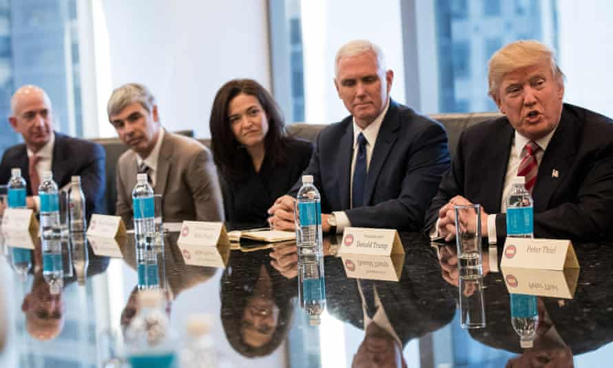 Jeff Bezos, of Amazon, Larry Page, of Alphabet, Sheryl Sandberg, of Facebook, with Mike Pence and Donald Trump at the president-elect's tech summit.