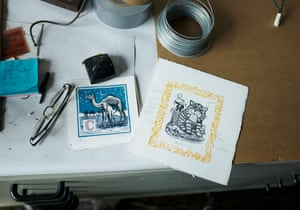 Inside story: Firmin's studio desk, with prints, wire and gaffer tape – the tricks of his trade.