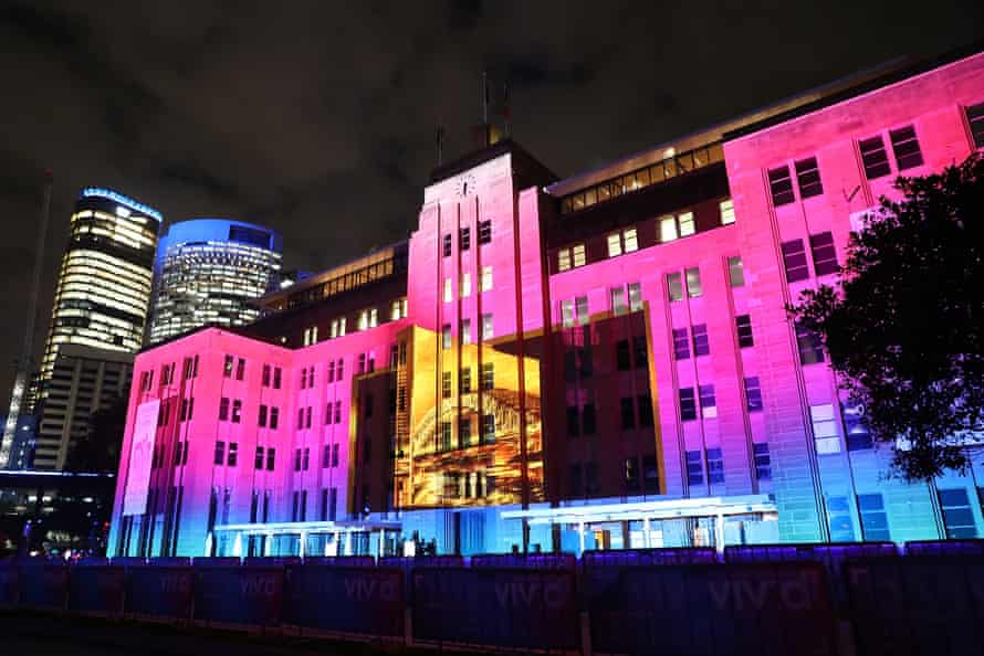 'Virtual Vibration' is is projected onto the facade of the MCA during a media preview for Vivid Sydney in 2018.
