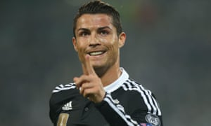 Real Madrid's Cristiano Ronaldo celebrates after scoring in the Champions League semi-final first leg against Juventus.