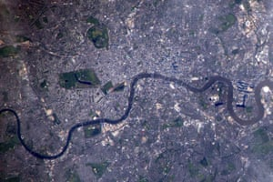 London, EnglandLondon's great parks stand out from above. Look closely to see the distinctive red hue of The Mall leading to Buckingham Palace.