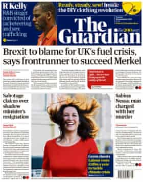 Guardian cover, September 28, 2021