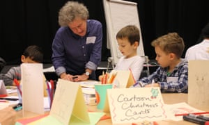 Cartoon Christmas cards with Kipper Williams at the Guardian cartoon and art family day.