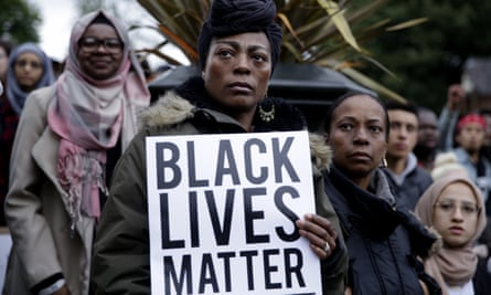 Protesters at the Black Lives Matter rally in Manchester.