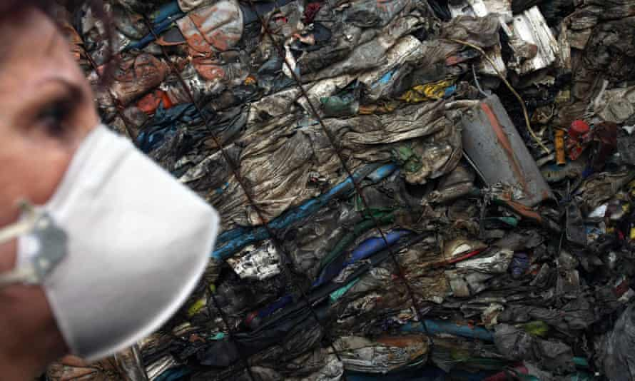 A container of household waste imported from Britain that was improperly labelled as recyclable plastic, in the port of Santos, Brazil.