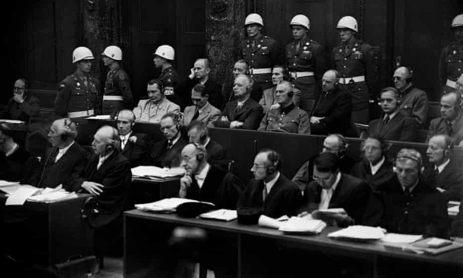Hermann Göring, Rudolf Hess, Joachim von Ribbentrop and other Nazi leaders on the opening day of the trial on 20 November 1945.