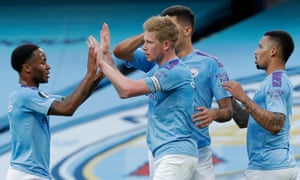 Kevin De Bruyne celebrates after scoring Manchester City's opening goal against Liverpool