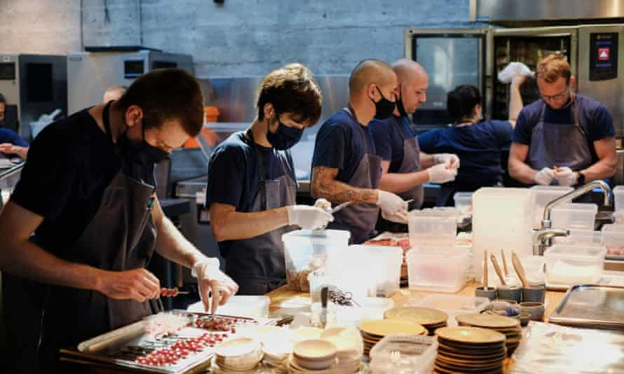 Staff at Noma prepare food in the kitchen