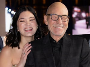 Supported … Isa Briones with Patrick Stewart.