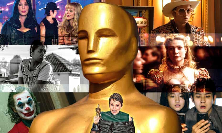 (Clockwise from top left) Cher and Christina Aguilera in Burlesque; Taron Egerton in Rocketman; Gwyneth Paltrow in Shakespeare in Love; Bong Joon-ho's Parasite; Olivia Colman wins her Oscar; Joaquin Phoenix in Joker and Yalitza Aparicio in Roma.