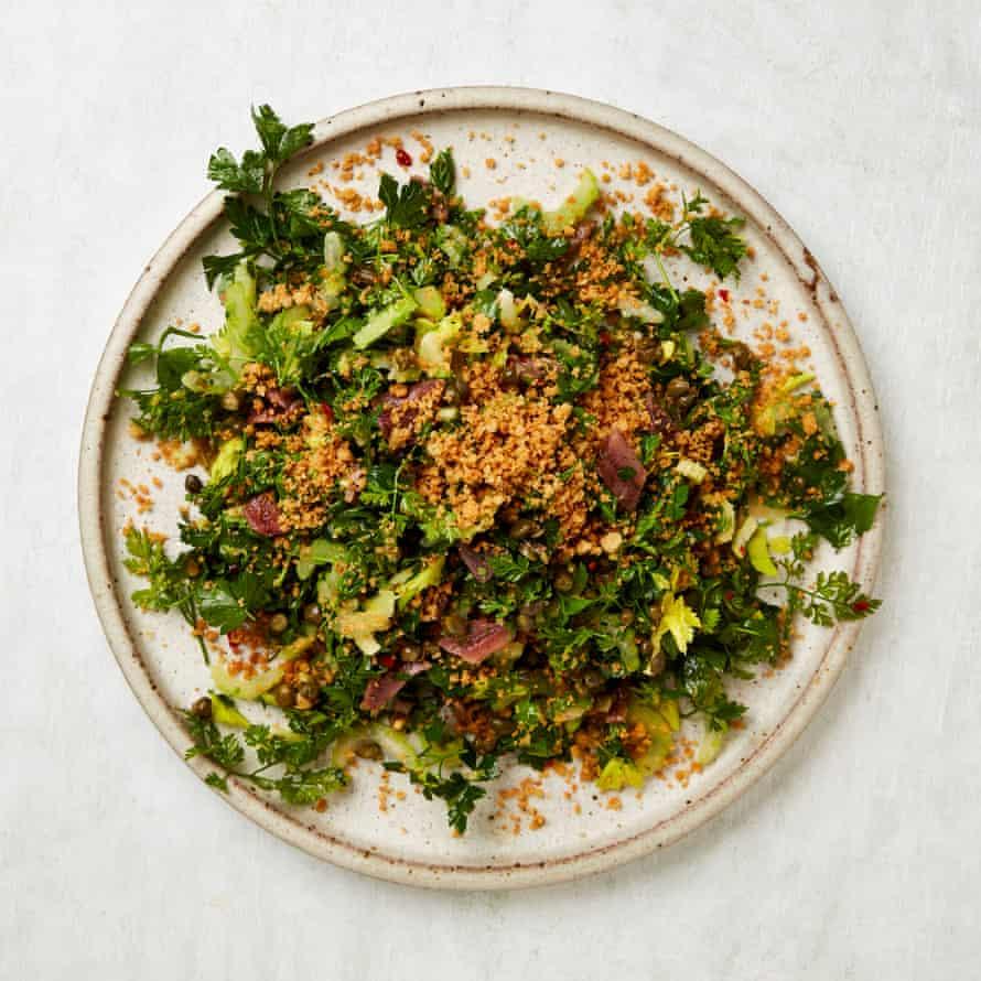 Mark Diacono's roman herb and anchovy salad.