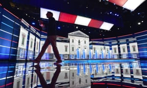 The stage set for Wednesday's Democratic presidential debate in Las Vegas, Nevada.